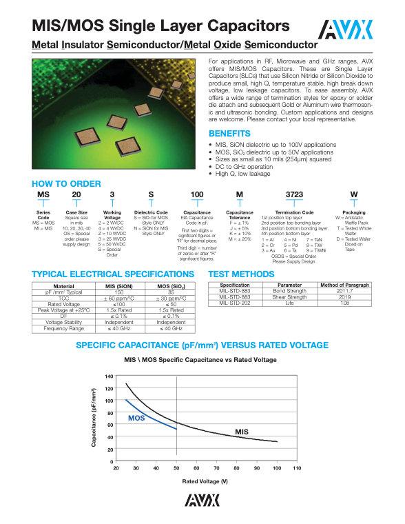 AVX MIS/MOS Single Layer Capacitors