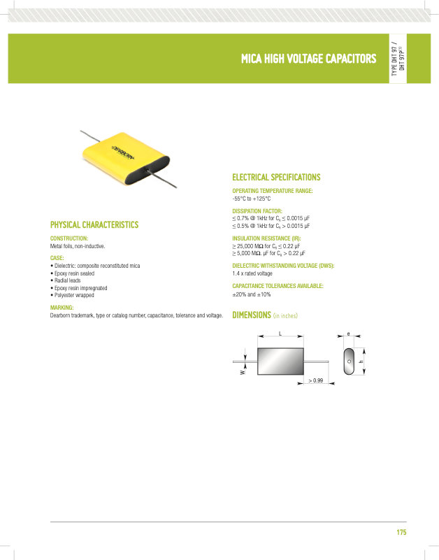 Dearborn DHT97 Series High Voltage Mica Capacitors