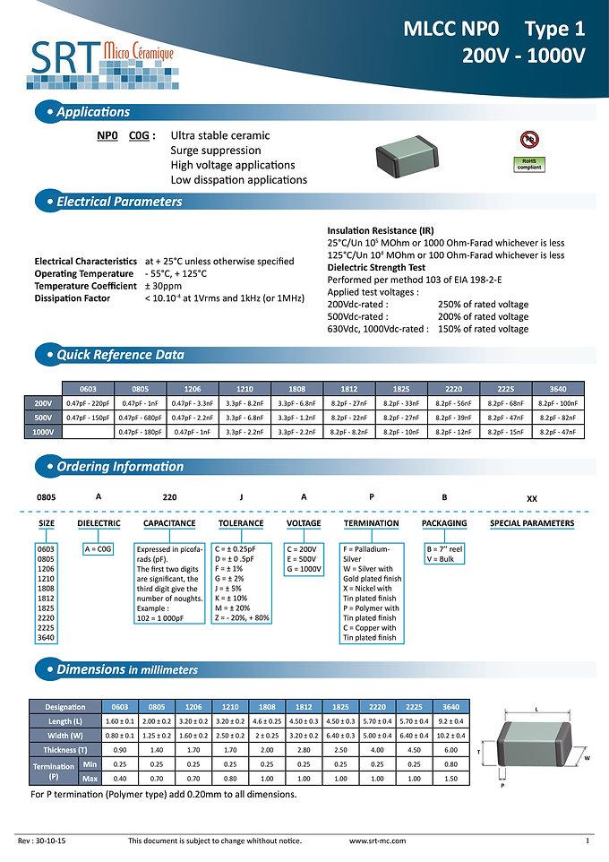 SRT Microceramique NPO 200V-1000V Chip MLC Capacitors
