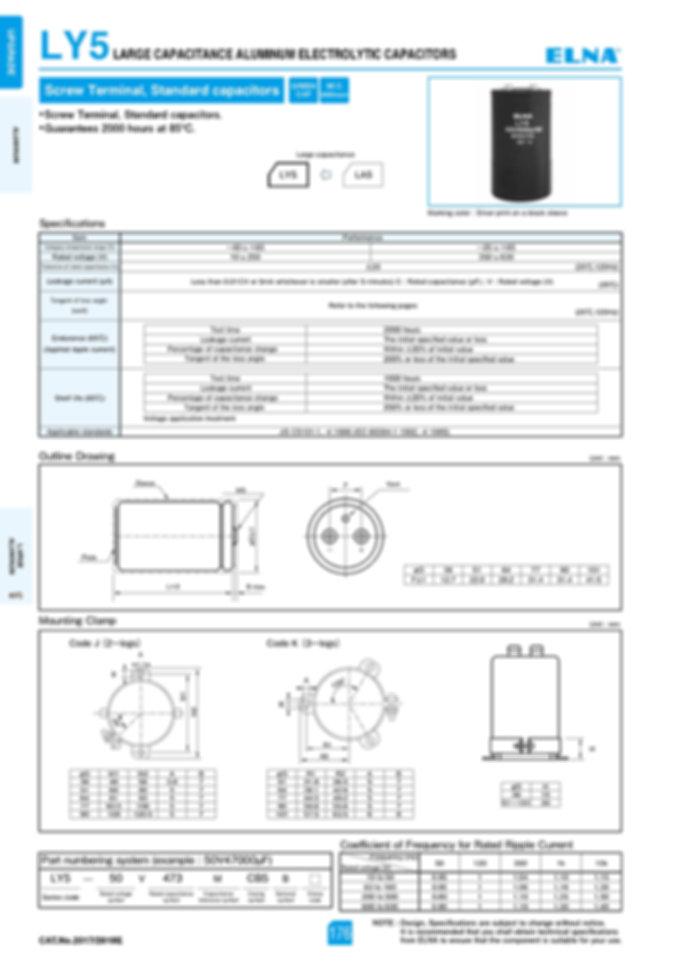 Elna LY5 Series Aluminum Electrolytic Capacitors