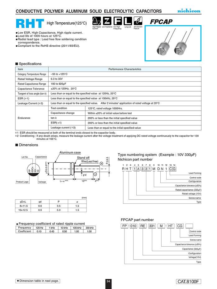 Nichicon RHT Series Aluminum Polymer Capacitors