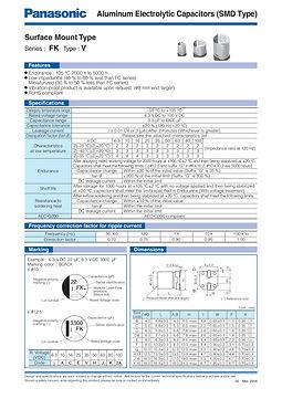 Panasonic FK V Series Aluminum Capacitors
