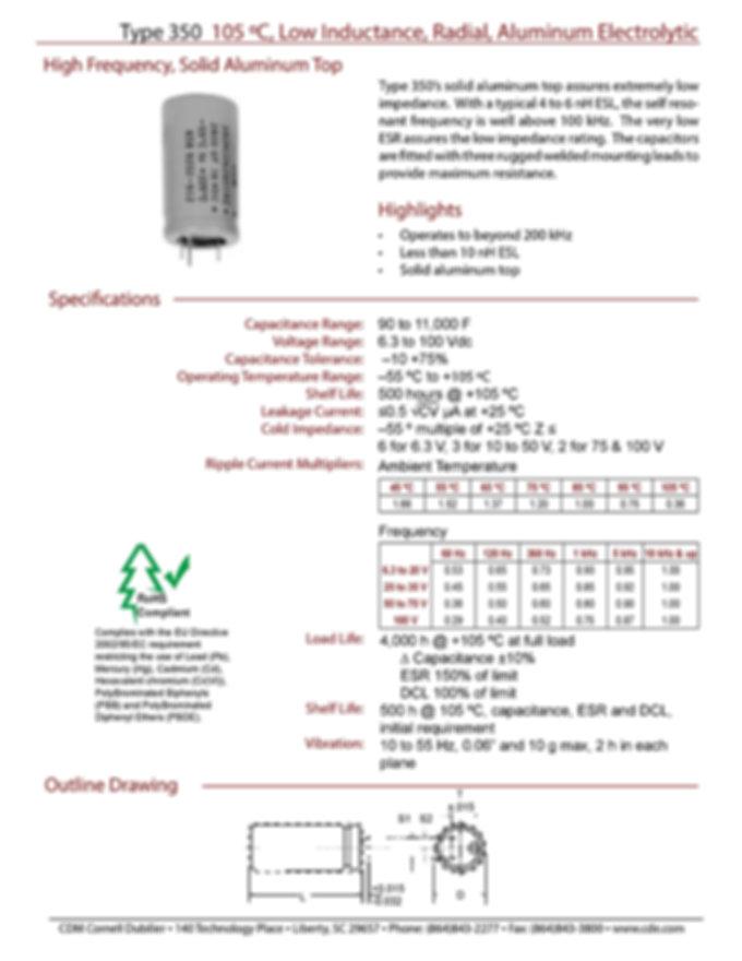 CDE Type 350 Low Impedance Aluminum Electrolytic Capacitors