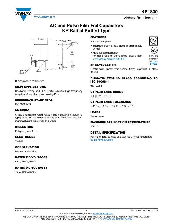 Vishay KP1830 Series Film Capacitors