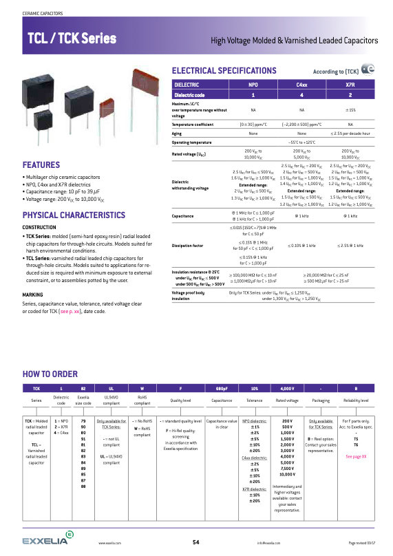 Exxelia TCL/TCK Series MLC Capacitors