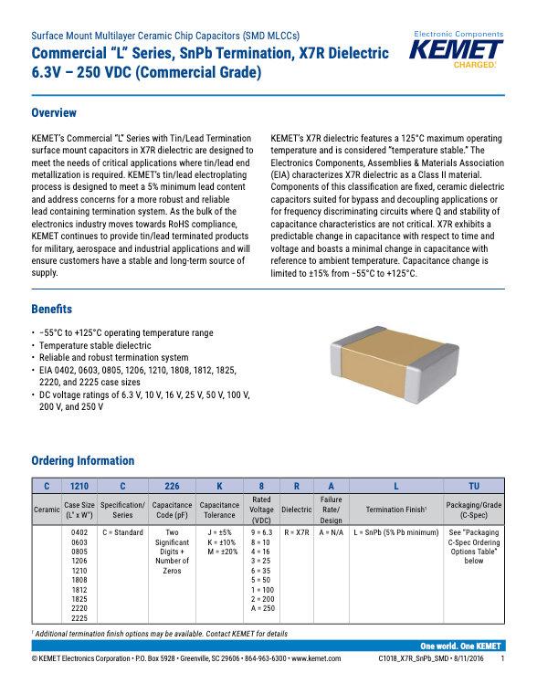 KEMET X7R Surface Mount SnPb MLC Capacitors