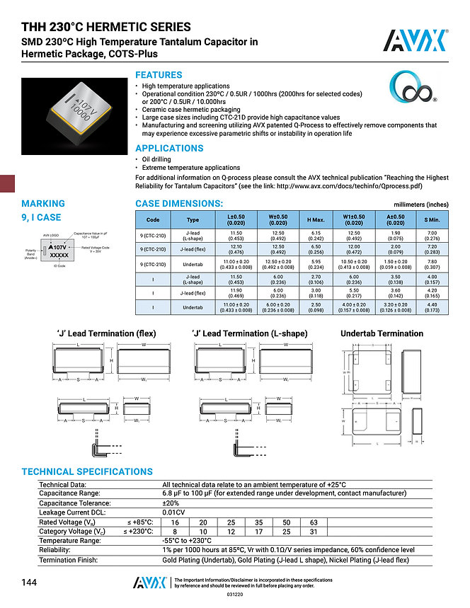 AVX THH Series Tantalum Capacitors