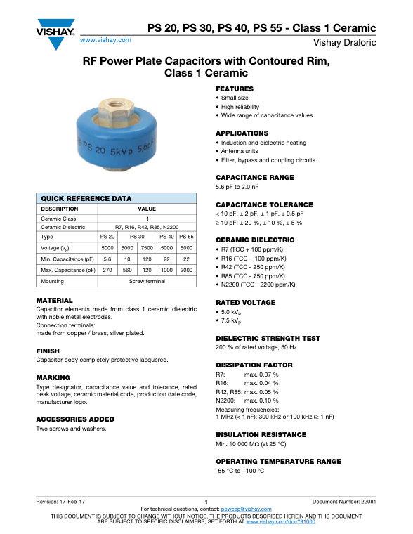 Vishay PS ... Class 2 RF Power Ceramic Capacitors