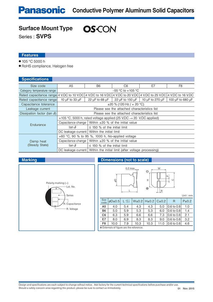 Panasonic SVPS Series Aluminum Polymer Capacitors