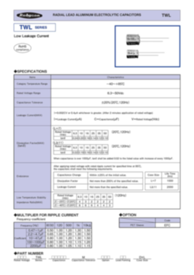 Rubycon TWL Series Aluminum Capacitors