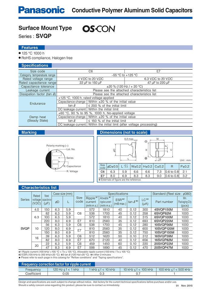 Panasonic SVPQ Series Aluminum Capacitors