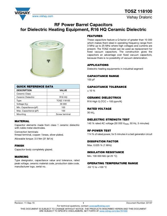Vishay TOSZ 118100 Series RF Ceramic Capacitors