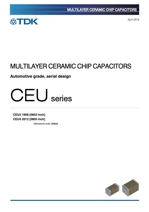 TDK CEU  Series Automotive Grade Serial Design MLC Capacitors