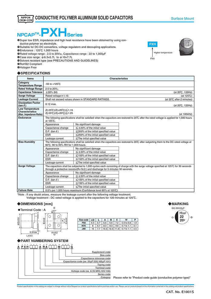 Nippon Chemi Con PXH Series Aluminum Polymer Capacitors