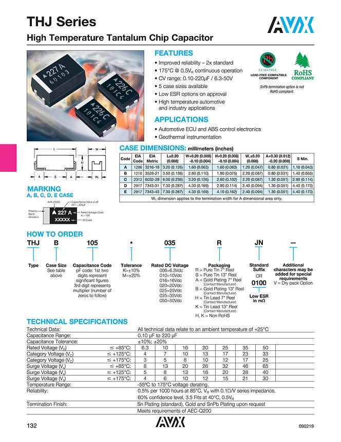 AVX THJ 175°C Series Tantalum Capacitors