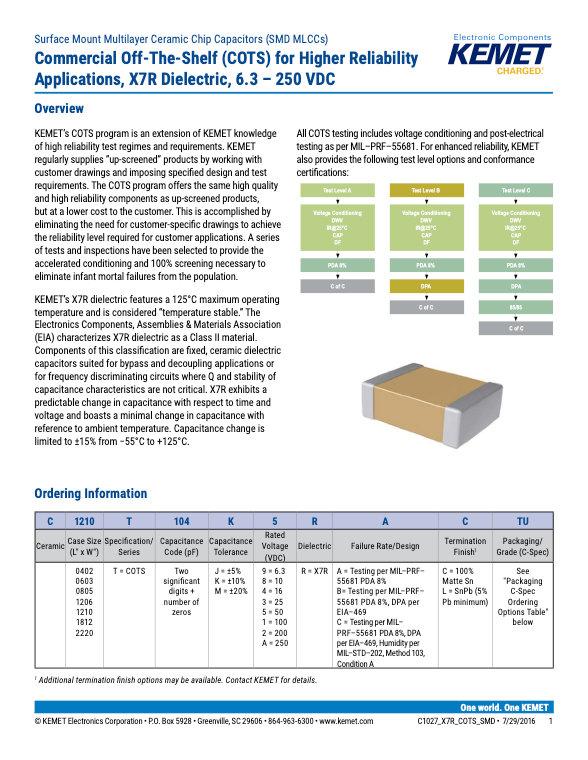 KEMET X7R COTS Grade MLC Capacitors