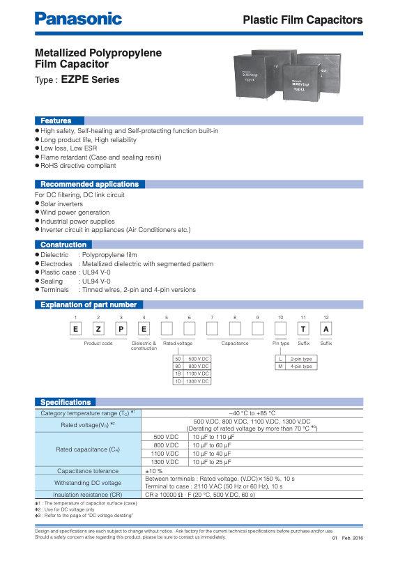 Panasonic EZPE Series Film Capacitors