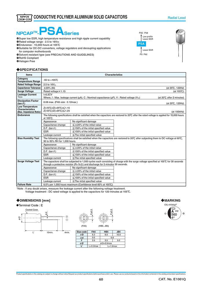Nippon Chemi Con PSA Series Aluminum Polymer Capacitors