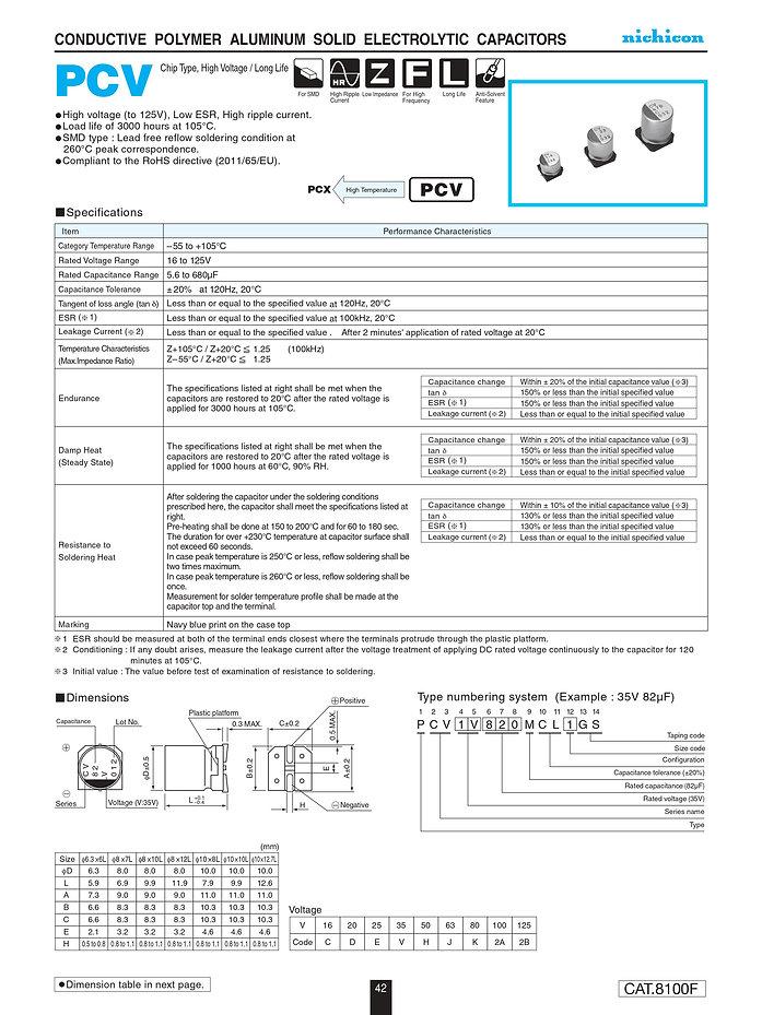 Nichicon PCV Series Aluminum Polymer Capacitors