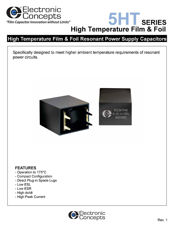 Electronic Concepts 5HT Series Film And Foil Capacitors