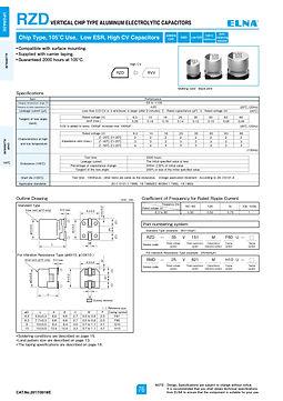 Elna RZD Series Aluminum Electrolytic Capacitors