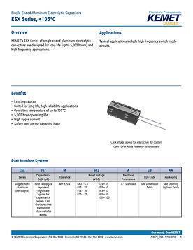 KEMET ESX Series Aluminum Capacitors
