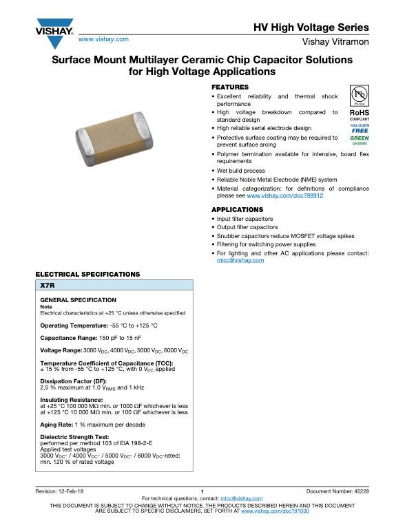 Vishay HV Series MLC Capacitors
