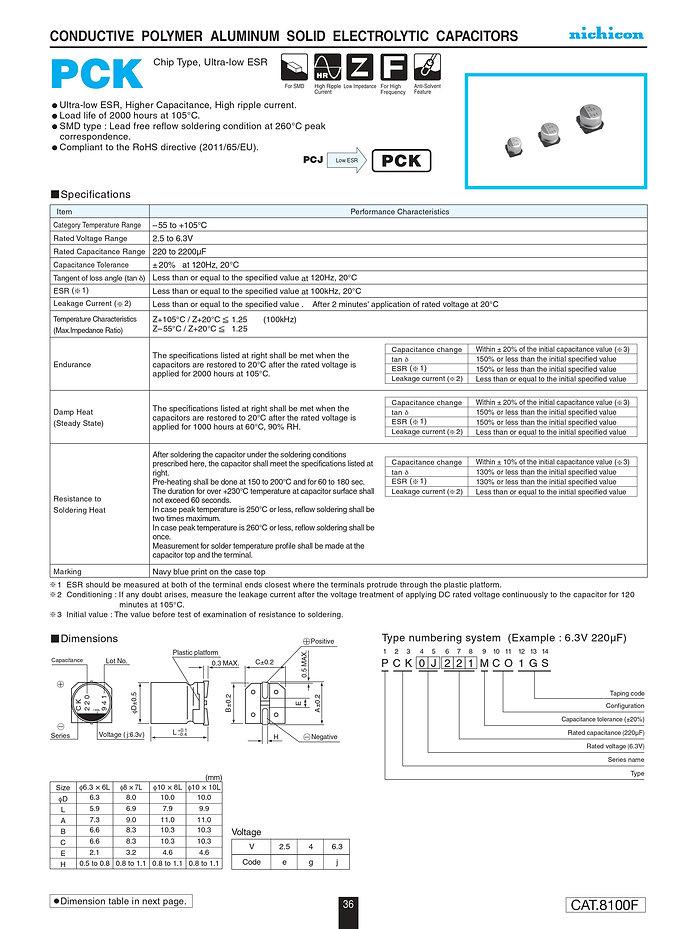Nichicon PCK Series Aluminum Polymer Capacitors