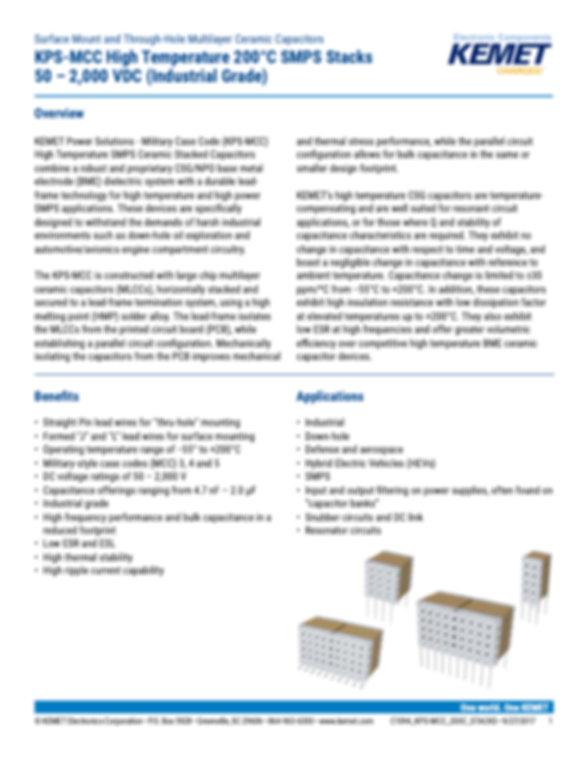 KEMET KPS-MCC COG MLC Capacitors