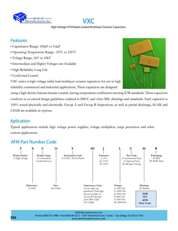 AFM Microelectronics VXC Series MLC Capacitors