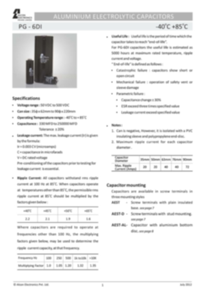 Alcon Electronics PG 6DI Series Aluminum Electrolytic Capacitors