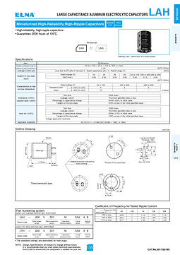 Elna LAH Series Aluminum Electrolytic Capacitors