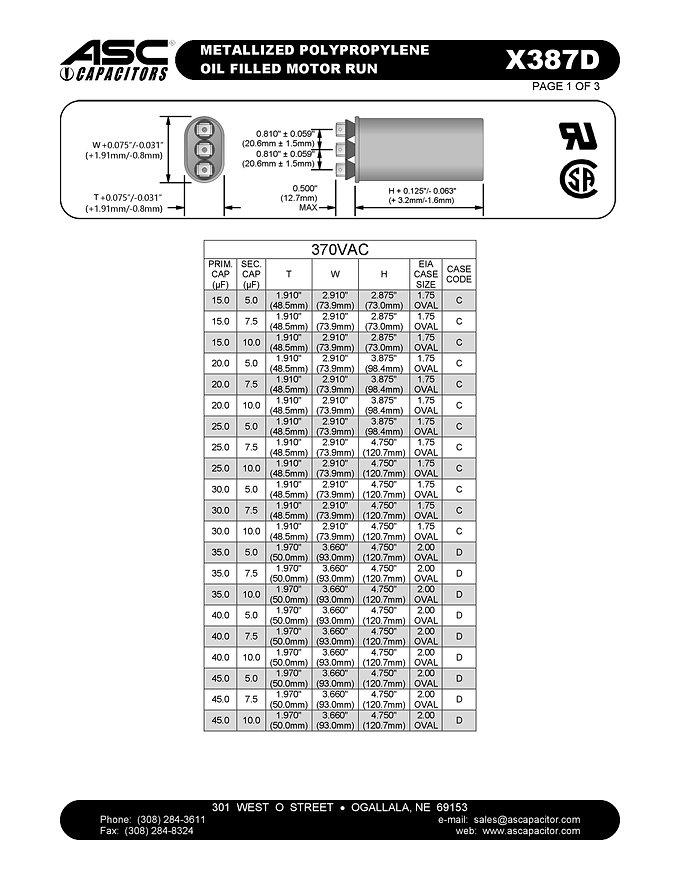 ASC X387D Series Film Capacitors