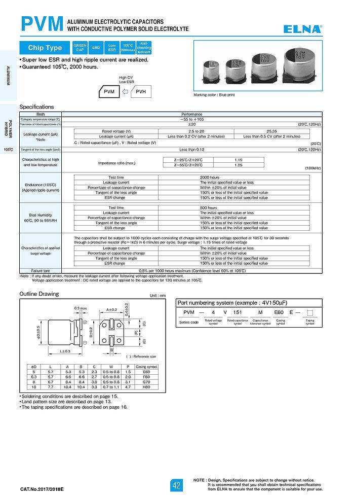 Elna PVM Series Aluminum Polymer Capacitors