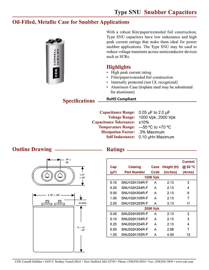 CDE Type SNU Film Capacitors