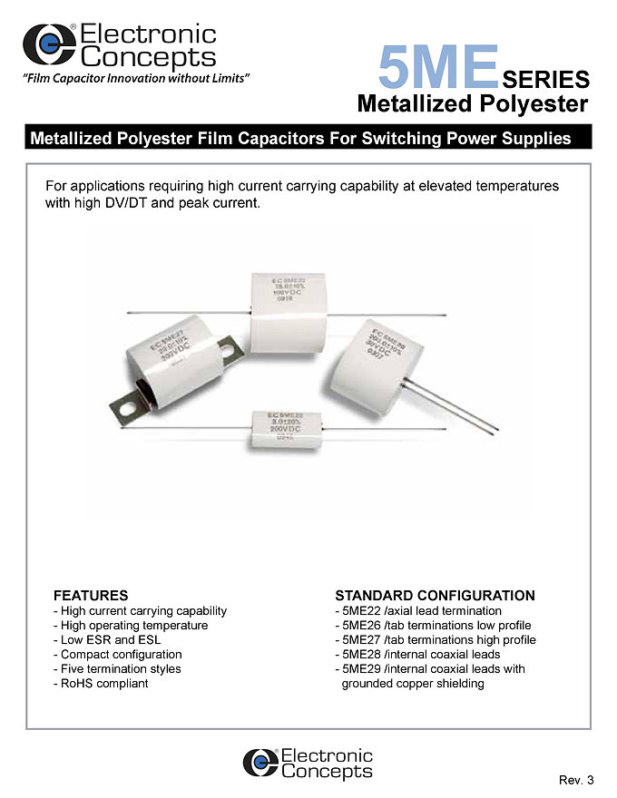 Electronic Concepts 5ME Series Metallized Polyester Capacitors