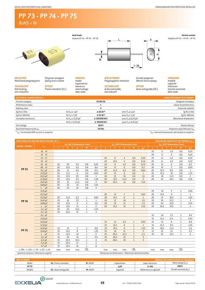 Exxelia PP 73/74/75 Series Film Capacitors