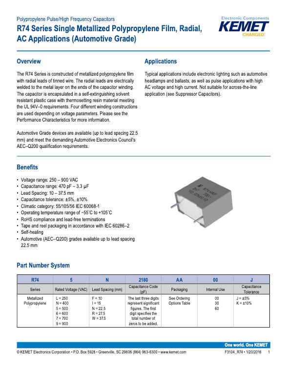 KEMET R74 Series Plastic Film Capacitors