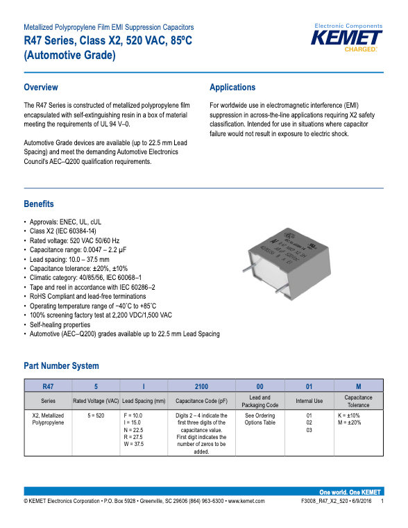 KEMET R47 520 Series Plastic Film Capacitors
