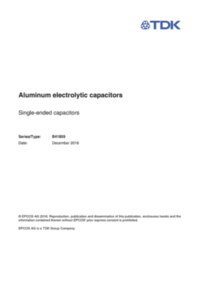 Epcos B41859 Series Aluminum Electrolytic Capacitors