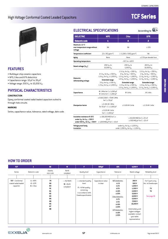 Exxelia TCF Series MLC Capacitors