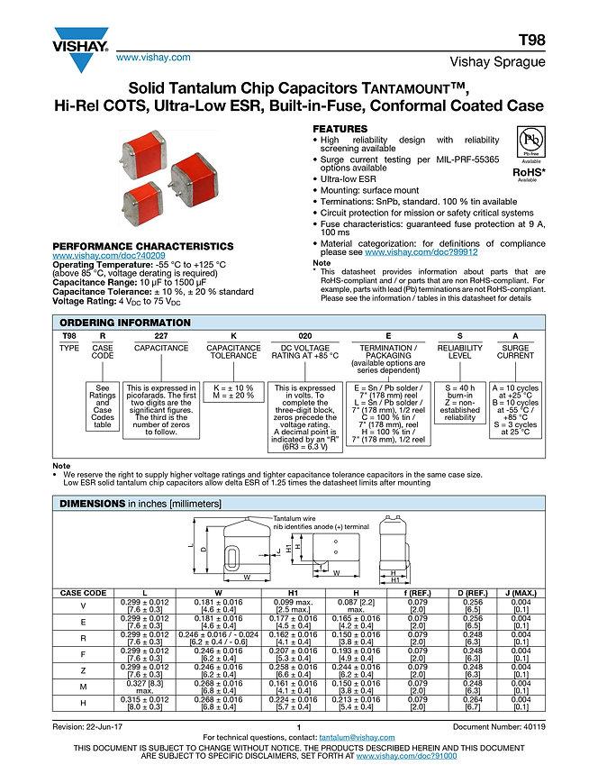 Vishay T98 Series Tantalum Capacitors