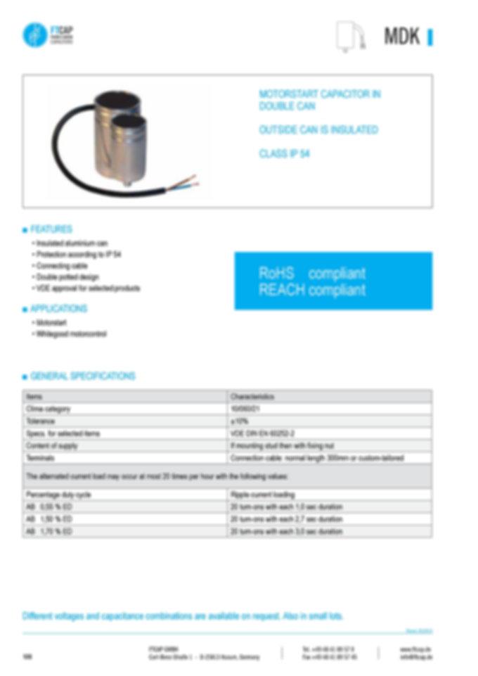Fischer & Tausche MDK Series Motor Start Capacitors