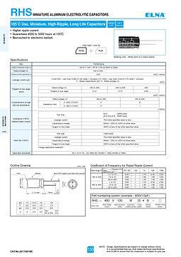 Elna RHS Series Aluminum Electrolytic Capacitors