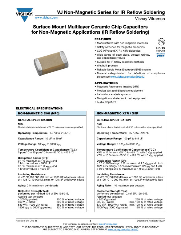 Vishay VJ Non Magnetic Reflow Series MLC Capacitors
