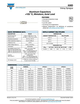 Vishay 630D Series Aluminum Electrolytic Capacitors