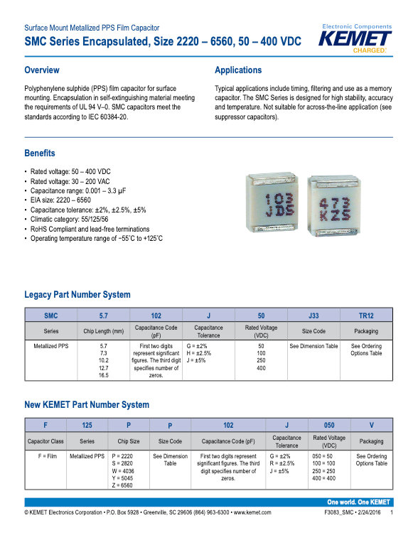 KEMET SMC Series Plastic Film Capacitors