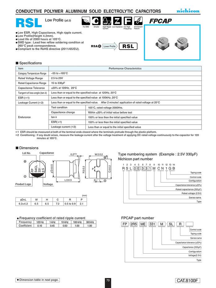 Nichicon RSL Series Aluminum Polymer Capacitors