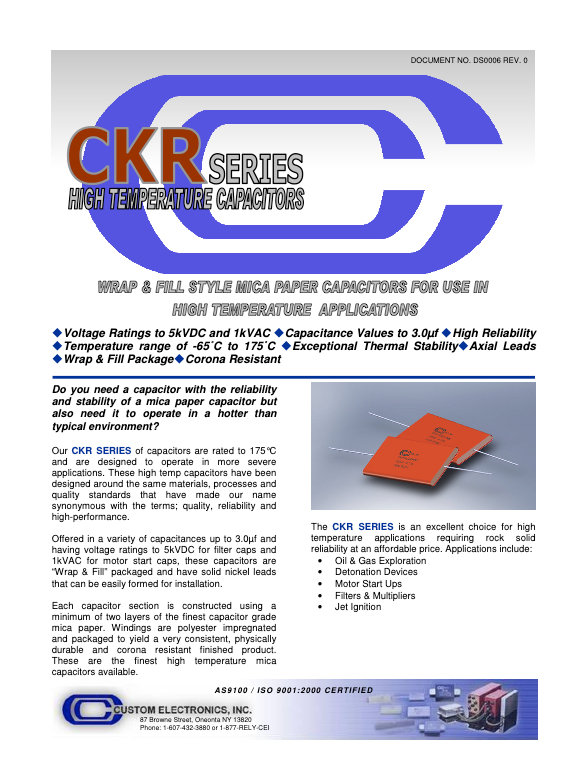 Custom Electronics CKR Series Mica Capacitors