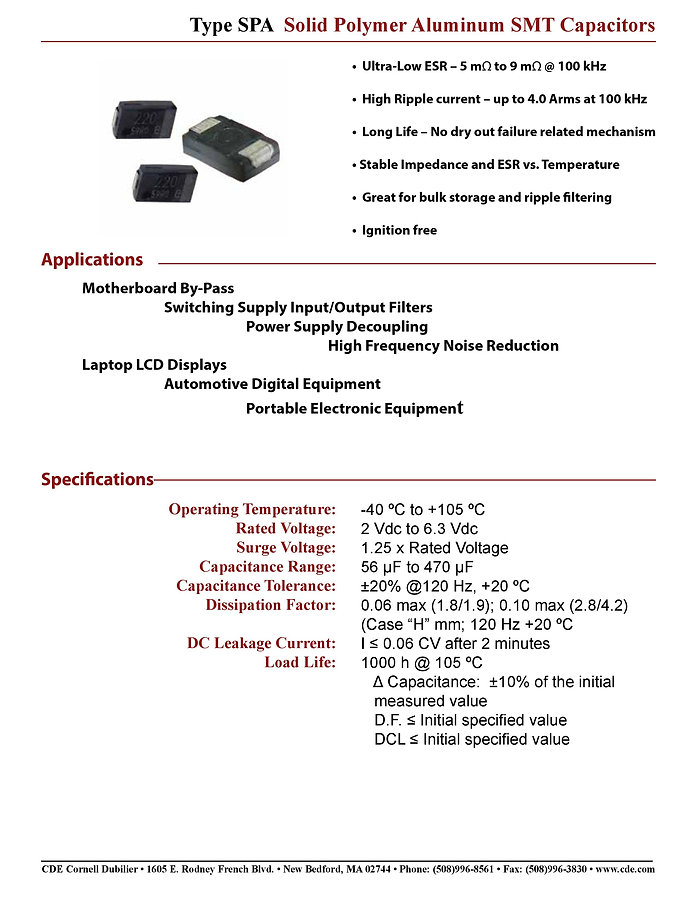 CDE Type SPA Aluminum Polymer Chip Capacitors